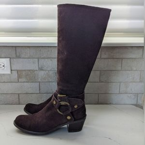 POLLINI brown suede harness boots
